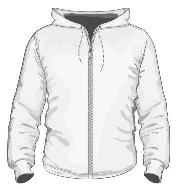 Hooded sweatshirt with zipper.