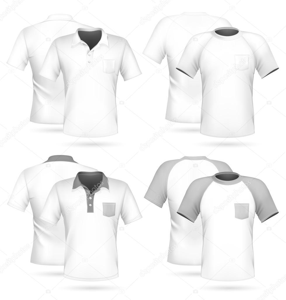 Vector. camisa de polo de los hombres y plantilla de diseño de camiseta con  bolsillo — Vector de ivelly 3fb025618e093