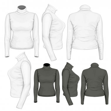 Vector. Women's turtleneck design templates (front, back and side views). stock vector