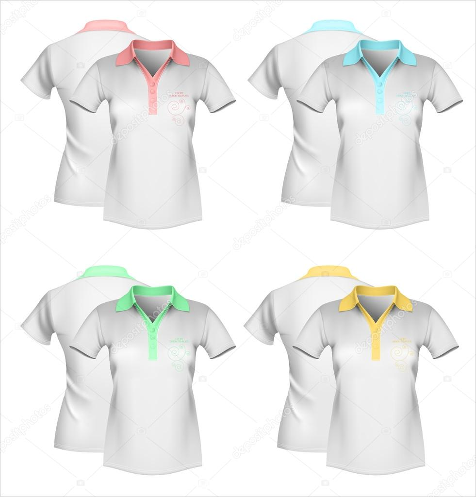 9d241389e6 modelo de camiseta polo feminina — Vetores de Stock © ivelly  33695337