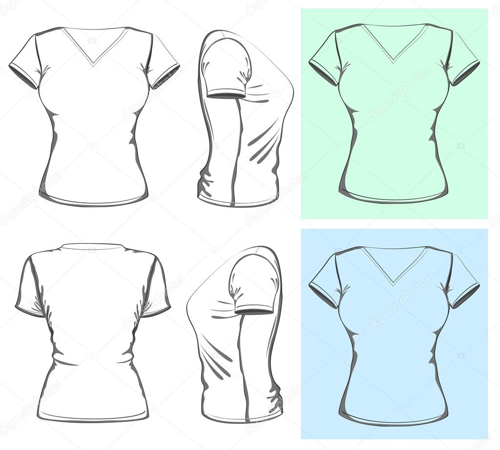 Womens V Neck T Shirt Design Vorlage Frontseite Ruckseite Und Seitenansicht Outline Vektor Von Ivelly
