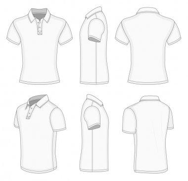Men's white short sleeve polo shirt.