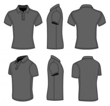Men's black short sleeve polo shirt