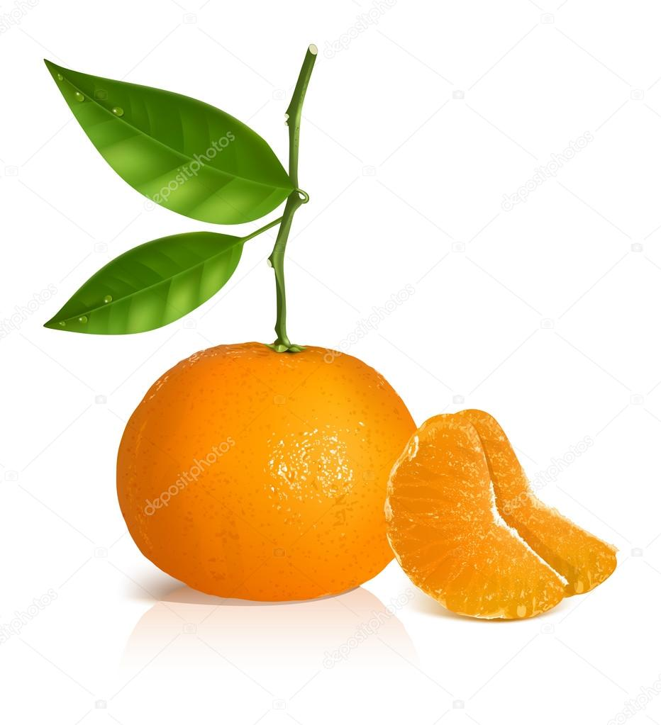 Fresh tangerine with green leaves and slices.