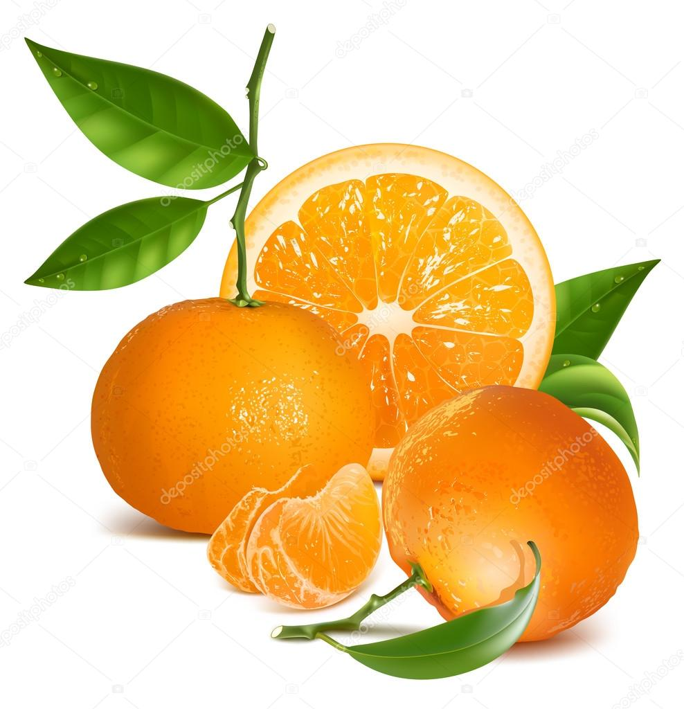 Fresh tangerines with green leaves and orange.