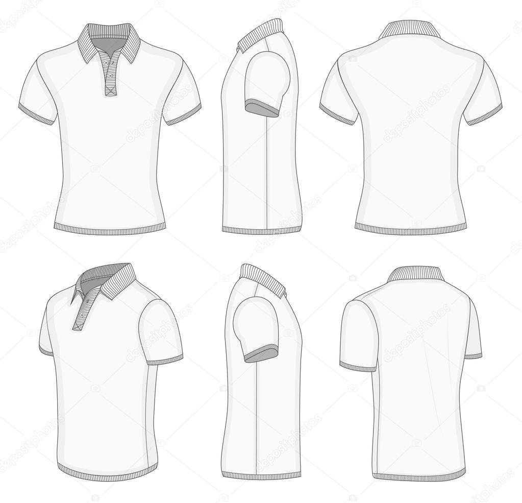 Polo shirt design vector - All Views Men S White Short Sleeve Polo Shirt Design Templates Front Back Half Turned And Side Views Ribbed Collar Cuffs And Waistband Vector