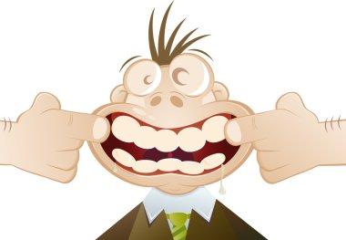 """Картина, постер, плакат, фотообои """"Забавный мультфильм человек вынужден улыбаться"""", артикул 12038953"""