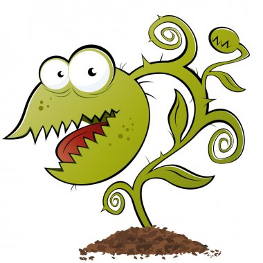 Funny carnivorous plant cartoon