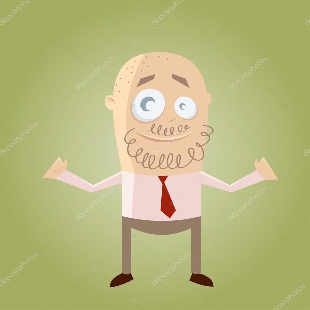 Uomo di cartone animato con barba e la testa calva u vettoriali