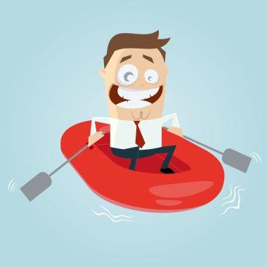 Businessman in rubber boat