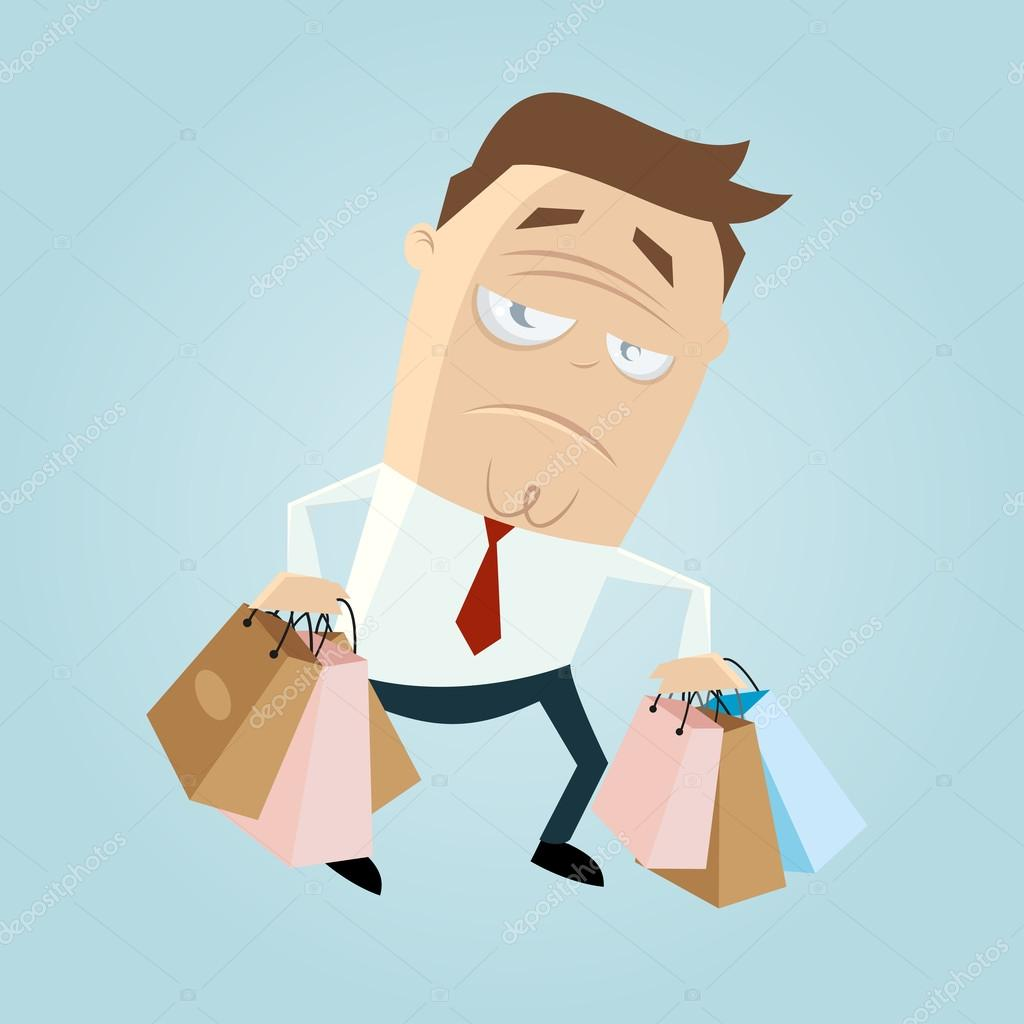 Annoyed Cartoon Man Carrying Bags Stock Vector 36629889