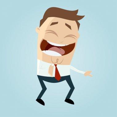 Cartoon man laughing at something