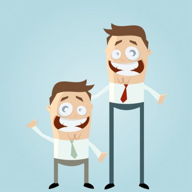 Small and large business cartoon men