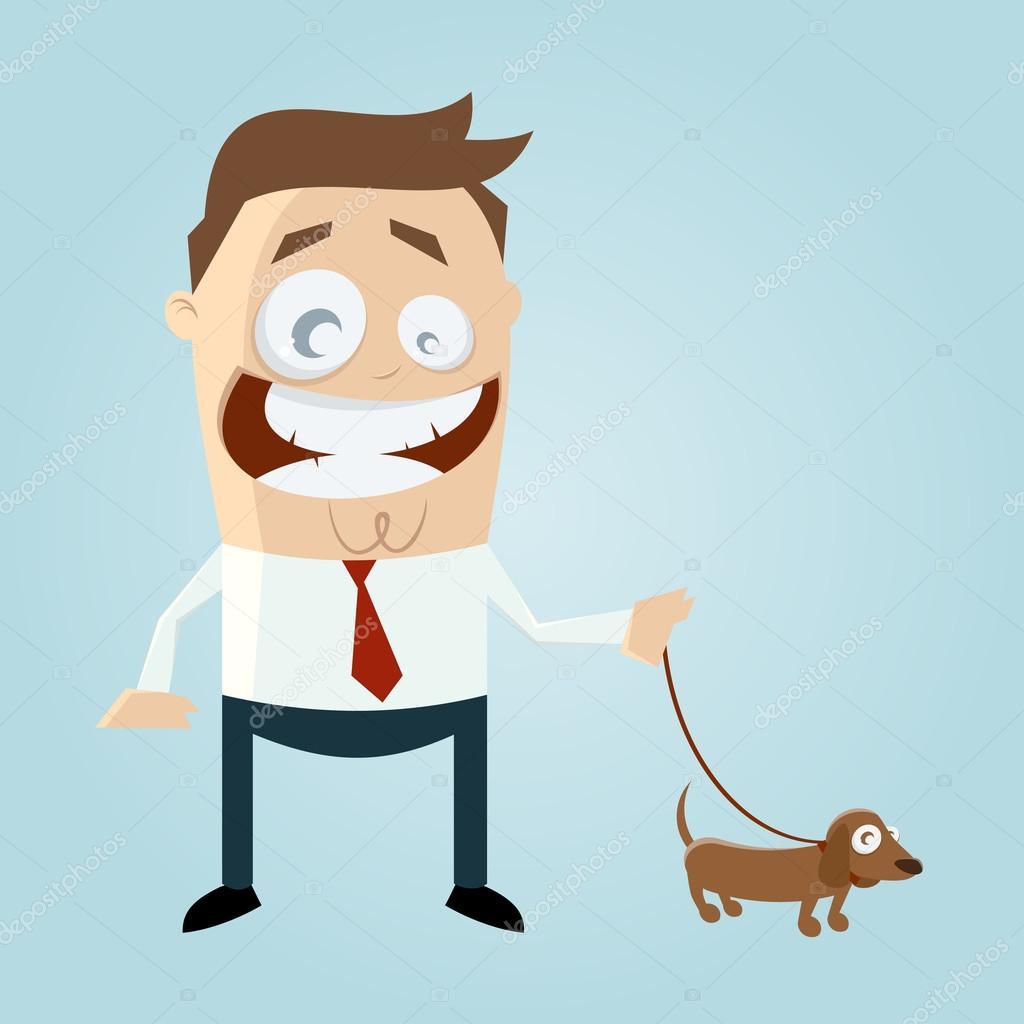 Uomo di cartone animato che corre con i suoi cani scaricare