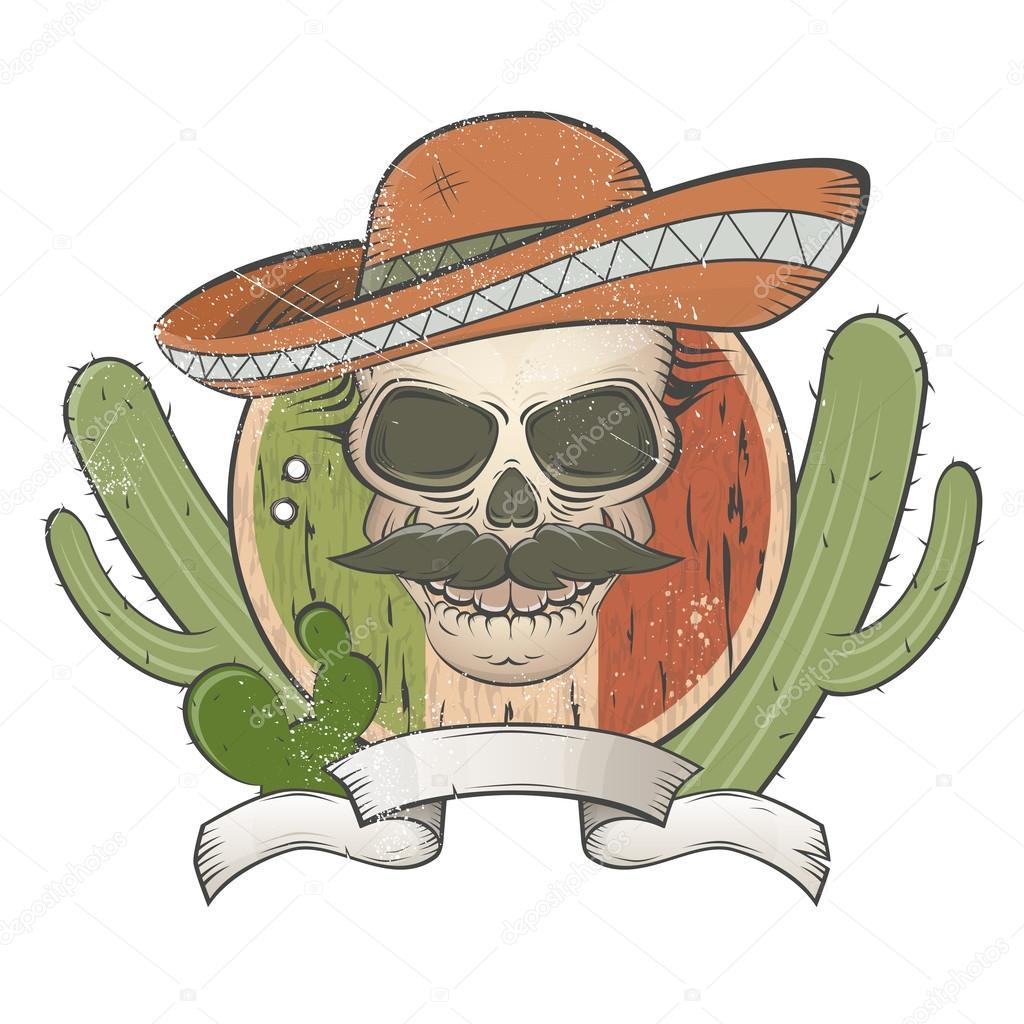 Vintage Calavera Mexicana Con Sombrero Y Bigote Archivo Imágenes