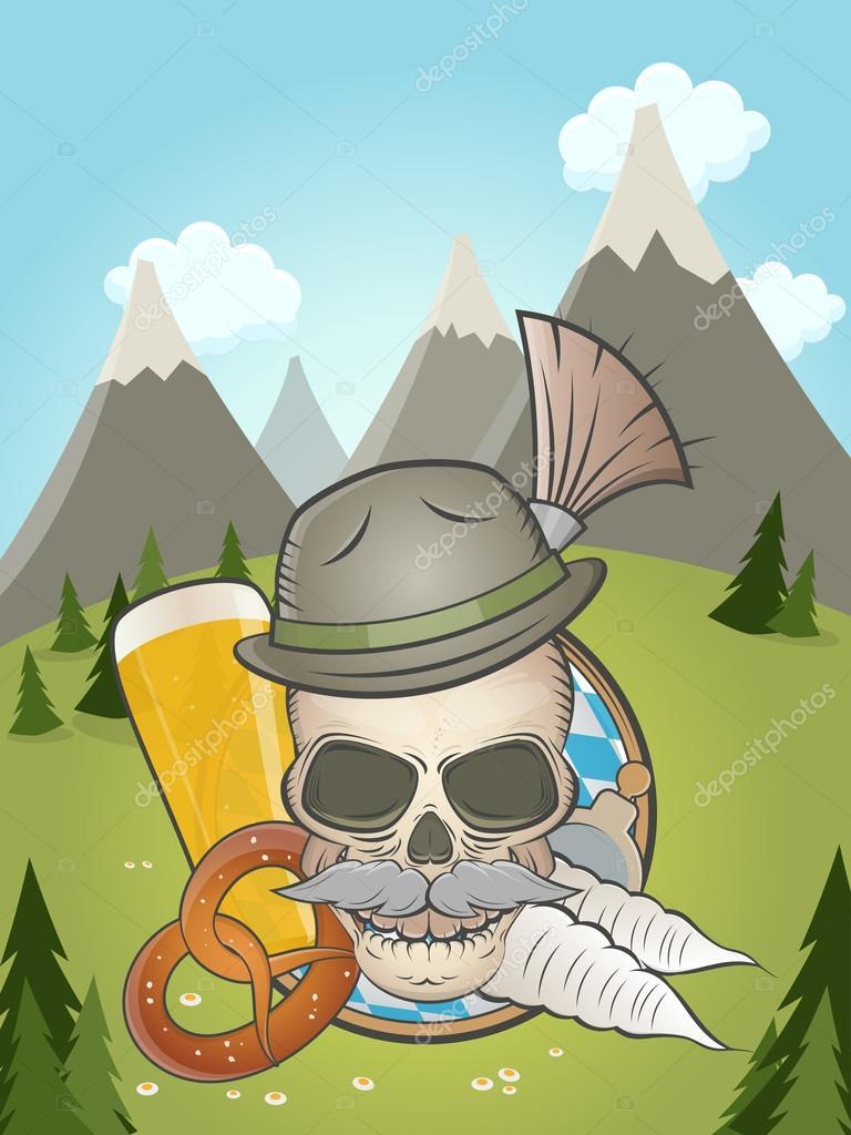 Bavarian skull with idyllic background