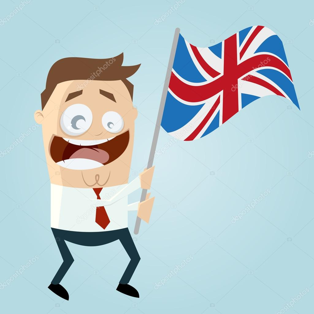 Happy cartoon man with british flag stock vector - Dibujo bandera inglesa ...