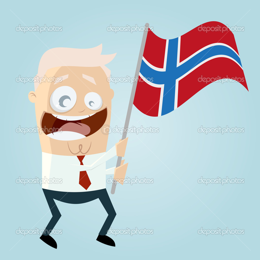 happy cartoon man with norwegian flag u2014 stock vector shockfactor