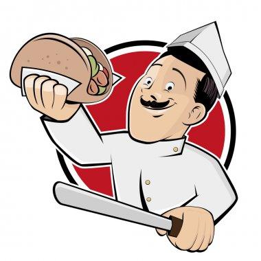 Funny doner cartoon man in a badge clip art vector