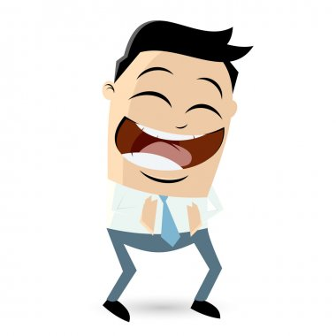 Laughing cartoon businessman