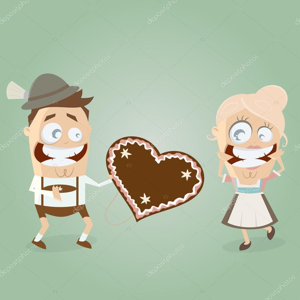bávaro admirador da un corazón de pan de jengibre con su chica ...
