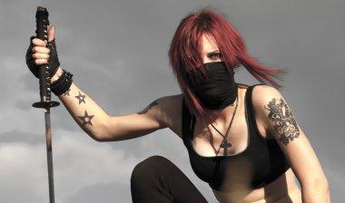 Fashion fantasy portrait of young pretty woman fighter