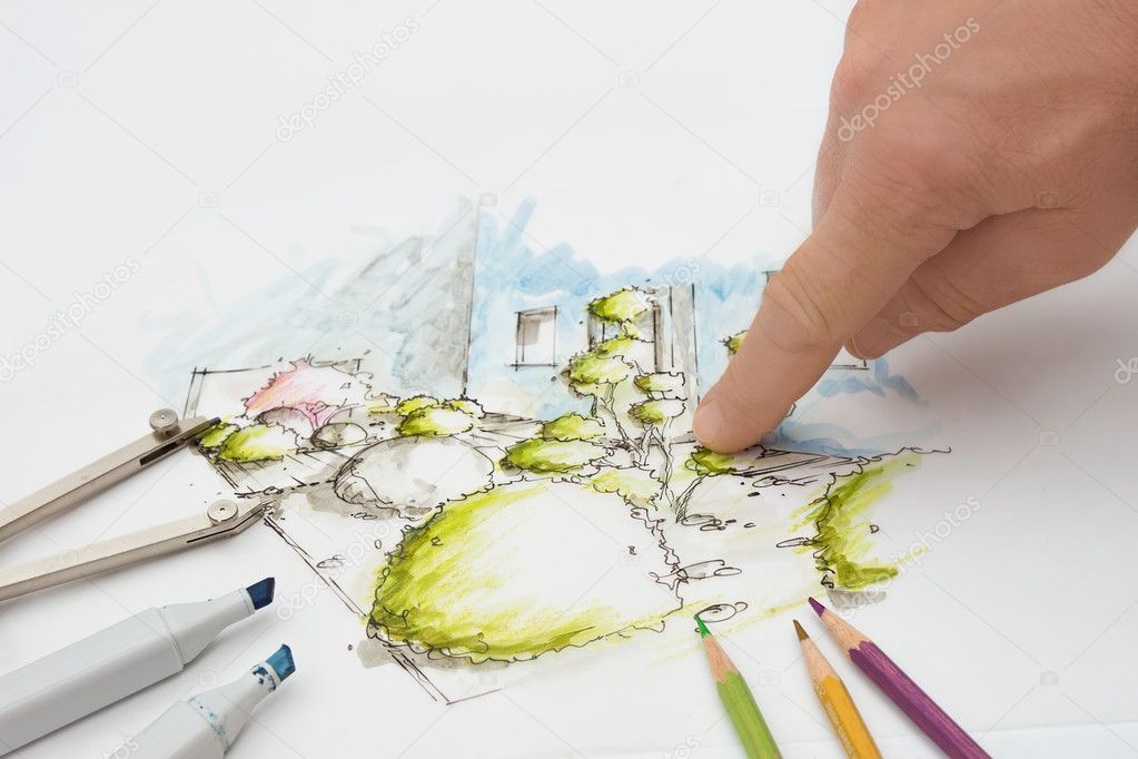 Landscape Architect showing Detail on Design Sketch