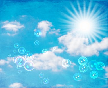 Soap bubbles in blue sunny sky with textured background stock vector