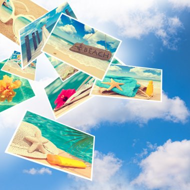 Floating summer postcards against a blue cloudy sky stock vector