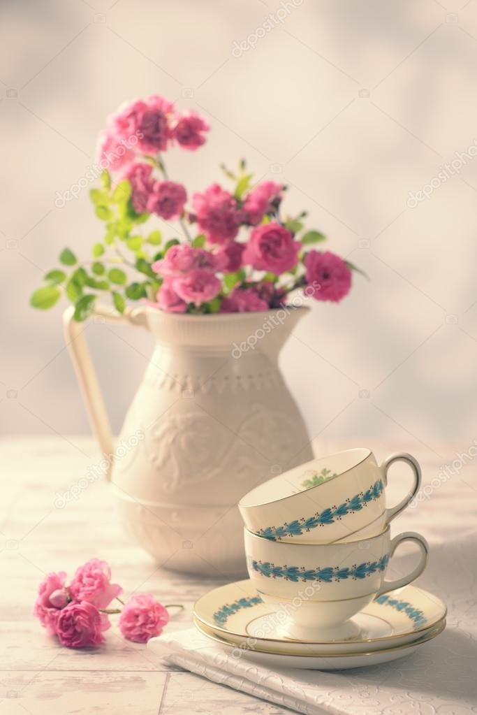 Vintage Teacups With Roses