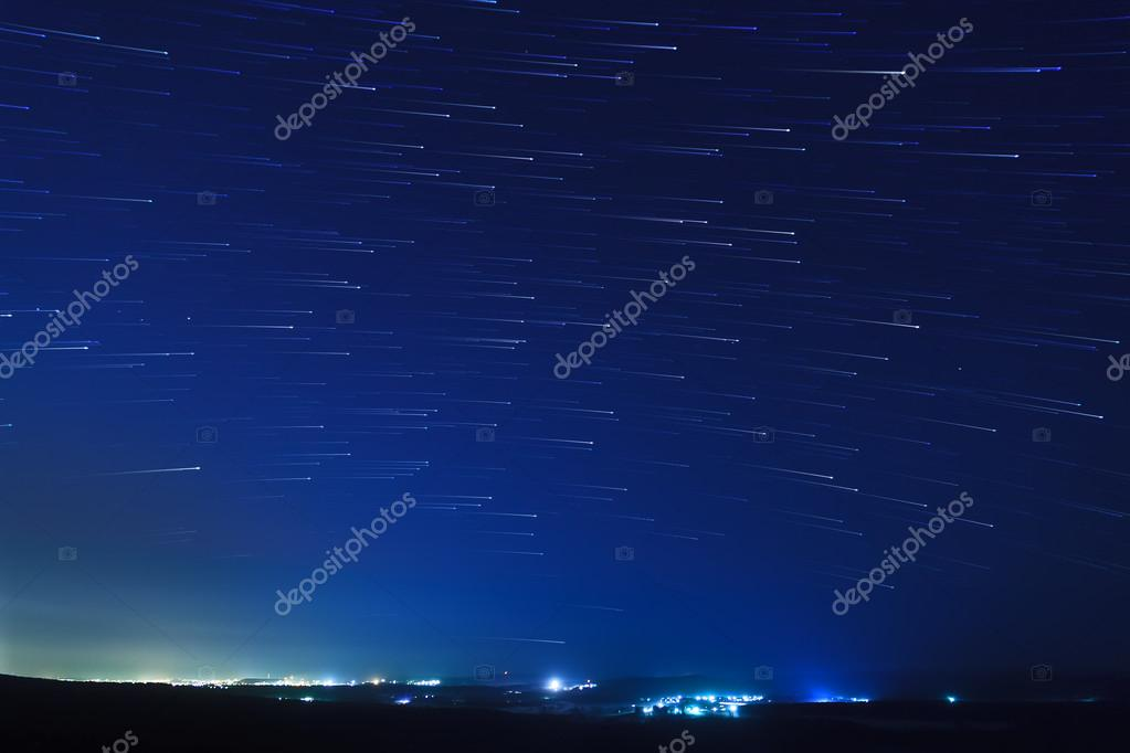 Star trails over the suburbs