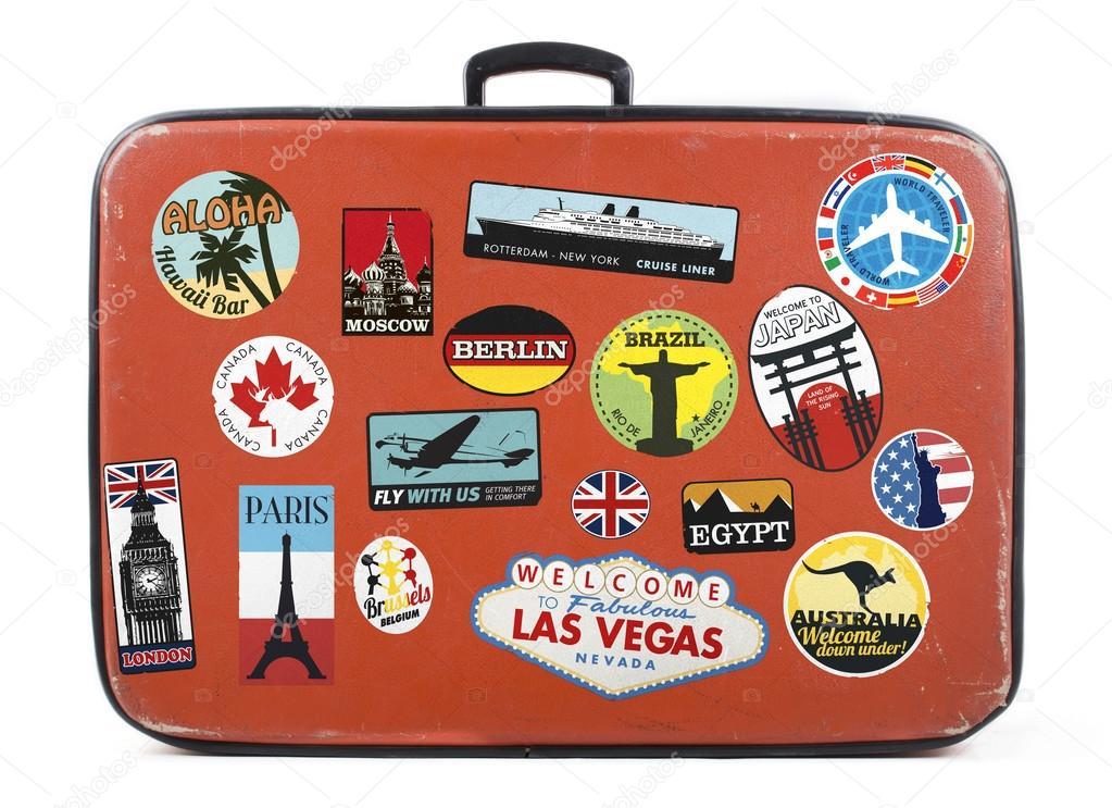 Чемоданы с наклейками маникюрные сумки чемоданы