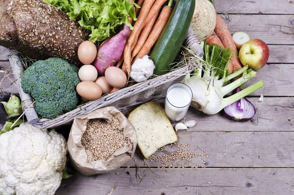 Organic vegetables, milk, eggs and cheese