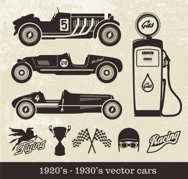 Vector images of old racing cars