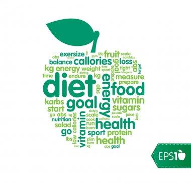 Diet or nutrition word shape cloud