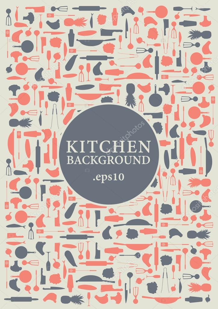 Vector kitchen items background