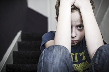 Alone sad little kid
