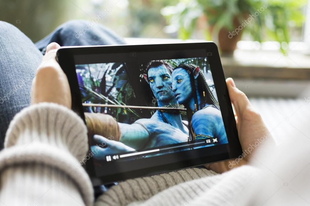 Watching Movies Online On Ipad Stock Editorial Photo