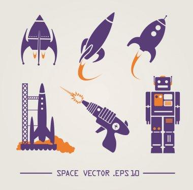 Flat future vintage space designs. Vector image