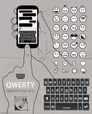 Smartphone vector qwerty keyboard items