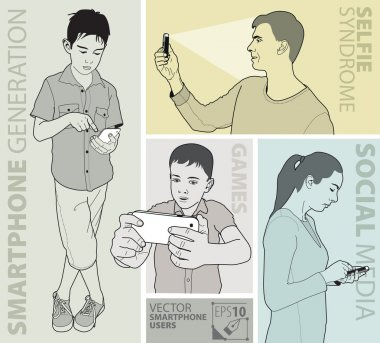 Vector image of people using smartphone