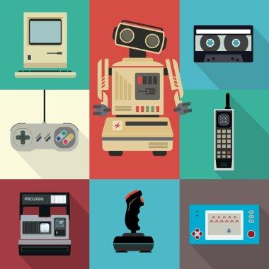 Flat electronic vintage illustrations