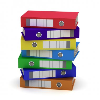 Seven Colorful File Folders