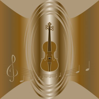 Vector brown background with violin