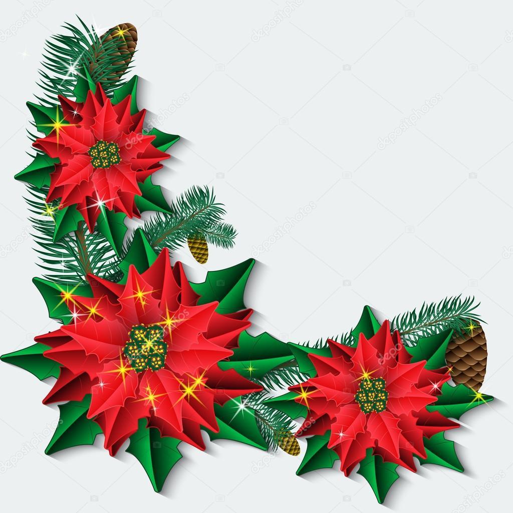 Weihnachten Hintergrund mit Weihnachtsstern-Blüten und Zweige der ...