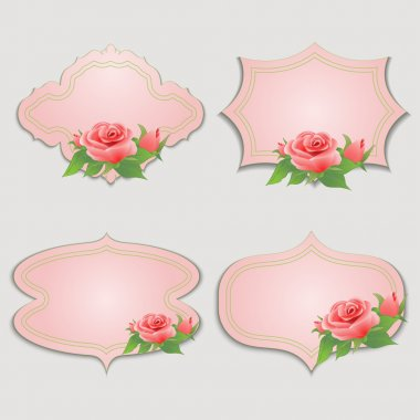 Set of vintage greeting cards with rose.
