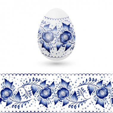 Blue Easter egg stylized Gzhel. Russian blue floral traditional pattern. Vector illustration