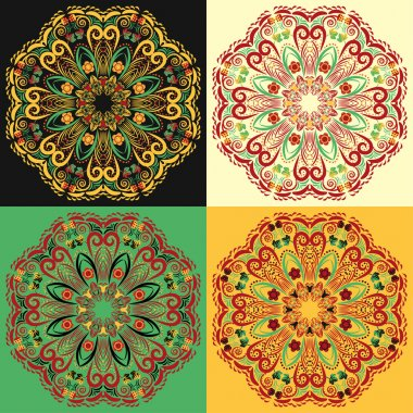 Set of four traditional Russian circular mandala patterns khokhloma.