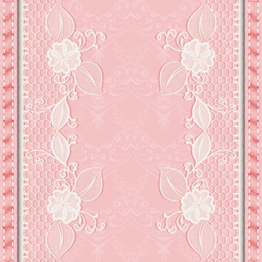 Template greeting or invitation card with lace fabric. Pink background.