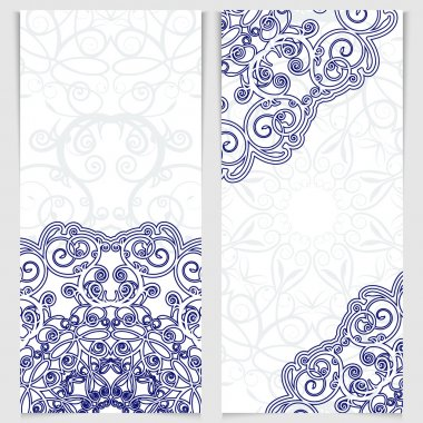 Set of greeting cards or invitations in the style of imitation Chinese porcelain painting. Blue victorian floral decor. Template frame for the banner or background. Place for your text. Vector illustration. stock vector
